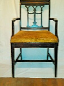 Antique Edwardian Neoclassic Mahogany Carved Corinthian Back Dining Arm Chair