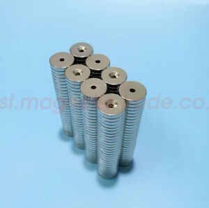 50 100pcs 22mm X 3mm Countersunk 4mm Disc Round Magnets Rare Earth Neodymium N50