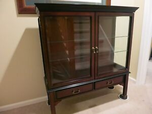 Wood And Glass Lighted Display Curio Cabinet
