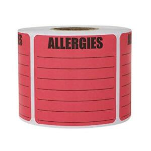 Allergies Sticker Labels Write on Surface Warning Large Square 2 X 2 Inch Pink