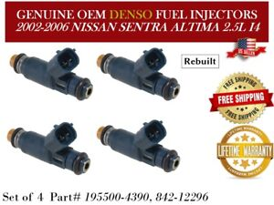 4 Genuine Denso Fuel Injectors For 2002 2006 Nissan Altima Sentra 2 5l