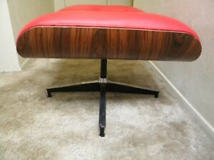 Eames Style Rosewood Lounge Chair Ottoman Heavy Red Leather Vinyl Upholstery