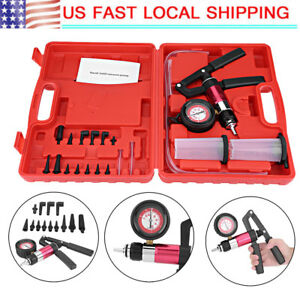 21pcs Hand Held Vacuum Pressure Pump Tester Brake Fluid Bleeder Bleeding Set