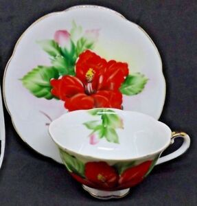 Red Hibiscus Hawaii China Tea Cup And Saucer Gold Rim And Handle Hand Painted