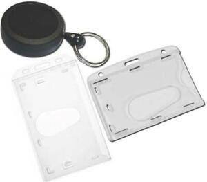 Retractable Id Card Badge Reel High Use Med heavy Duty With Enclosed Card Holder