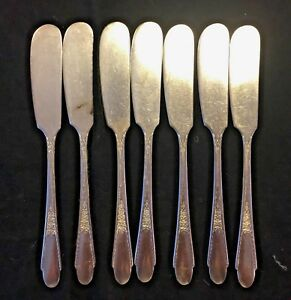 Rogers 1941 Gardenia Set Of 7 Silverplate Flat Handled Butter Knives Spreaders