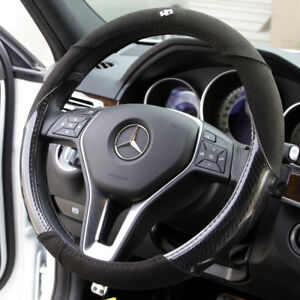 New 14 75 Dia Black Circle Cool Carbon Fiber Suede 7474 Steering Wheel Cover