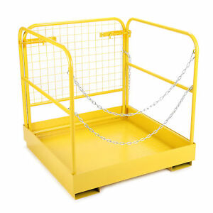 749 Lbs Capacity 36 x36 Forklift Safety Cage Steel Work Platform Heavy Duty