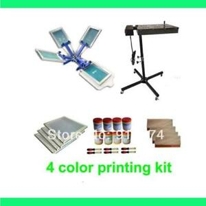 Fast Free Shipping 4 Color Silk Screen Printing Kit Flash Dryer Plastisol Ink T