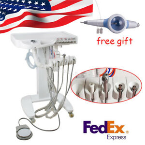 4 hole Portable Dental Delivery Unit Mobile Cart Treatment System Air Polisher