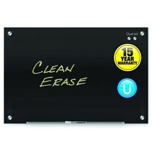 24 x36 Magnetic Frameless Glass Dry Erase Board Black Quartet G3624b
