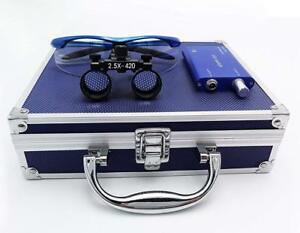 Dental Binocular Loupes 2 5x Magnifier Blue Led Headlight Aluminum Box