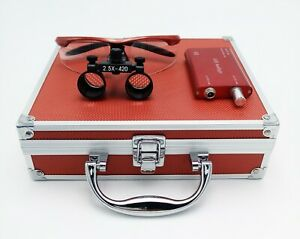 Dental Binocular Loupes 2 5x Magnifier Red Led Headlight Aluminum Box