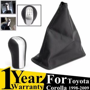 Pu 5 Speed Gear Stick Shift Knob Gaiter Boot Cover For Toyota Corolla 1998 09