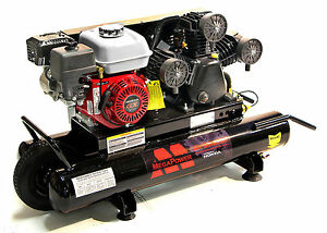 6 5 hp 10 gallon 135 psi Gas powered Belt Drive Air Compressor Wheeled Gas