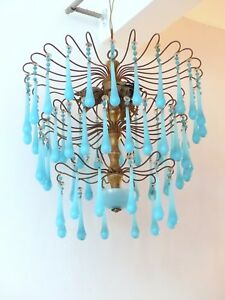 Vintage Chandelier Aqua Blue Opaline Drops Beads 3 Lights Gouttes 1920