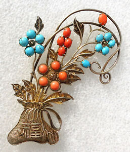 Cina China Fine Large Silver Filigree Chinese Pin With Red Coral And Turquoise