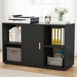 Black File Cabinet With 4 Open Cubes And Door Storage Cabinet For Home Office Us