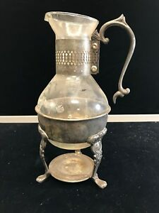 Vintage Silver Plated And Glass Coffee Carafe Pot With Warmer Stand
