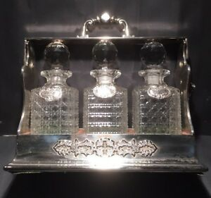 Antique Colossal Victorian Silver Plated Three Bottle Tantalus Betjemann C1870
