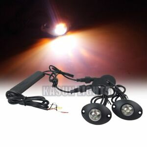 2in1 Led Hide Away Lights Emergency Flashing Vehicle Warning Strobe Amber White