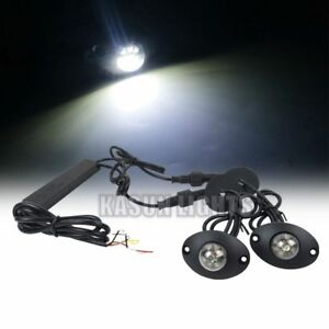 2in1 12 Led Hide Away Lights Emergency Flashing Vehicle Warning Strobe White