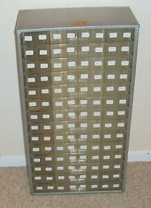 Vtg Metal Akro Mils 14 Drawer 56 112 Compartments Organizer Wall Storage Cabinet