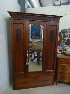 Antique Oak Wardrobe Armoire With Center Mirror And Large Bottom Drawer