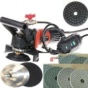 Wet Polisher Grinder 325 Polishing Pad Buffer Granite Concrete 10 Carbon Brush