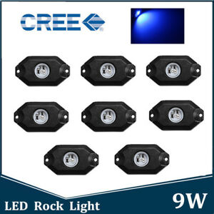 8pcs Blue Cree Led Rock Light Trail Rig Decorative Underbody Reverse Lamp Suv