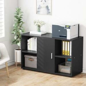 39 37l Black File Cabinet With Door Storage Cabinet And 4 Open Cubes Home Office