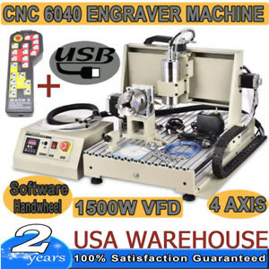 Usb 4axis 6040 1 5kw Vfd Cnc Router Engraver Engraving Machine handwheel Us Ship
