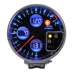5 Digital 4 In 1 Tachometer Water Temp Volt Voltage Oil Press Pressure Gauge Sf