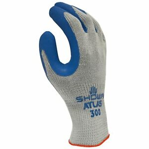 Showa Atlas 300m 08 Fit Palm Coating Natural Rubber Glove Blue Medium pack Of