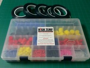 502pc High Temp Silicone Rubber Stopper Plug Kit Powder Coating 5 Roll Tapes