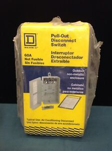 Square D 60a Pull out Air Conditioning Disconnect Switch Fusible Fp222rnm New