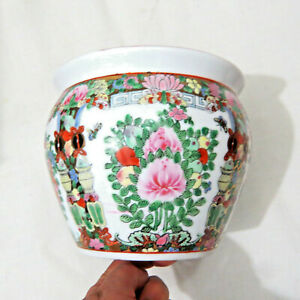 Vintage Gold Fish Bowl Pot Planter Hand Painted 6 5 Famille Rose