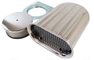 Small Polished Finned Scoop Air Cleaner Gasser Dragster Single 4 Barrel Ford Gm