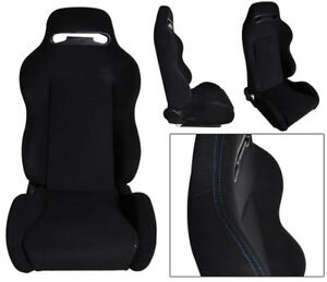 Pair Of Type r Reclinable Racing Seat Adjustable Silder Cloth