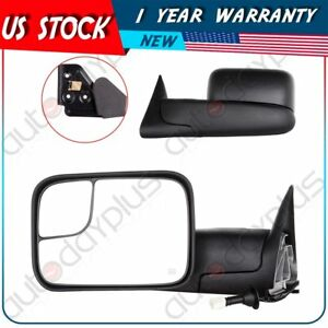 Power Heated Side View Towing Mirrors Pair Set For 98 01 Dodge Ram W Brackets