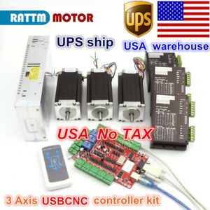 usa Stock 3 Axis Nema23 Stepper Motor 425oz in Dual fmd2740c Driver Usbcnc Kit