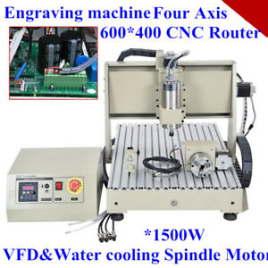 1500w 4 Axis 6040 Vfd Cnc Router Engraver Engraving Milling Machine 24k Rpm Wood