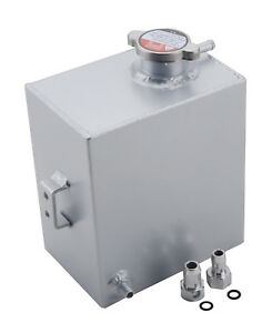 Universal 2 5l Aluminum Radiator Overflow Recovery Water Coolant Tank Silver
