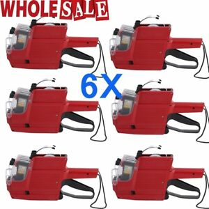 6x Mx 6600 10 Digits 2 Lines Price Tag Gun Labeler 6 Ink 30 White Tags Red Ma