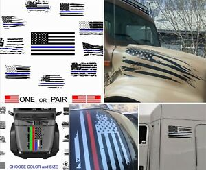 Distressed Flag Hood Decal Body Side Window Door Roof For Jeep Ford Chevy Ram