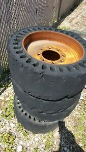 Qty 4 Used 28 Solid Skid Steer Tires Scrap Demolition Flat Proof