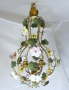 French Gilded Tole Opaline Flowers Chandelier Vintage Original Lantern 3 Lights