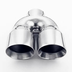 Exhaust Tip 3 Inlet 4 Outlet Slanted Dual Twin Round 9 Long Stainless Steel