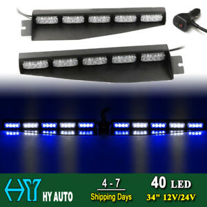 34 40 Led Emergency Warn Traffic Visor Mount Dash Flash Strobe Light Bar Blue W