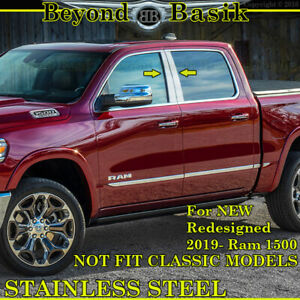 For 2019 Dodge Ram 1500 4dr Quad Crew Cabs Chrome Pillar Post Stainless Steel